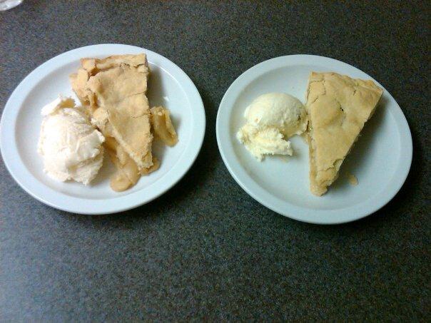 Apple pie with one vanilla ice cream scoop.